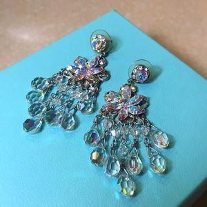 Iridescent Crystal Flower Chandelier Earrings